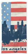 Los Angeles Skyline Flag Bath Towel