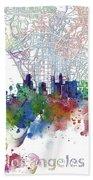 Los Angeles Skyline Map Watercolor 3 Bath Towel