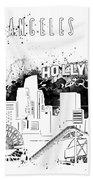 Los Angeles Skyline Panorama White Bath Towel
