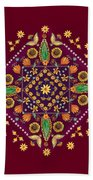 Mandala Flowering Series#2. Terracotta Bath Towel