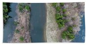 Manistee River Aerial Panorama Bath Towel