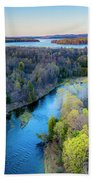 Manistee River And Hodenpyle Dam Aerial Hand Towel