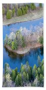 Manistee River Bend From Above Hand Towel