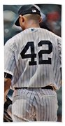 Mariano Rivera  New York Yankees Abstract Art 1 Hand Towel