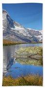 Matterhorn From Lake Stelliesee 07, Switzerland Bath Towel