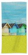 Mersea Island Beach Hut Oil Painting Look 2 Bath Towel
