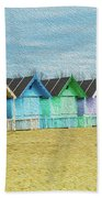Mersea Island Beach Hut Oil Painting Look 3 Bath Towel