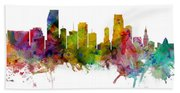 Miami Florida Skyline Panoramic Hand Towel
