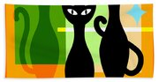 Mid Century Modern Abstract Mcm Bowling Alley Cats 20190113 Square Hand Towel