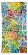Milan Italy City Map Bath Towel