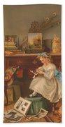 Miss Oakley Making The Scrapbook 1866 Bath Towel