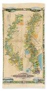 Mississippi River Historic Map Lousiana New Orleans Baton Rouge Map Farming Plantation Hand Painted  Bath Towel