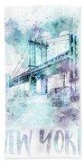 Modern Art Nyc Manhattan Bridge - Jazzy Watercolor Bath Towel