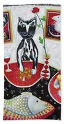 Monaco Cats Red Bath Towel