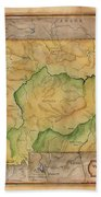 Montana Custom Map Art Rivers Map Hand Painted Bath Towel