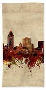 Montreal Skyline Sepia Bath Towel