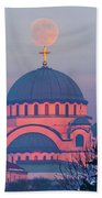 Moon On Top Of The Cross Of The Magnificent St. Sava Temple In Belgrade Bath Towel
