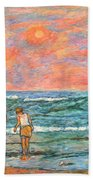Morning Stroll At Isle Of Palms Hand Towel