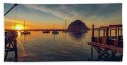 Morro Bay Harbor Sunset Bath Towel