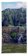 Napali Cave And Waterfall Bath Towel