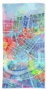 New Orleans Map Watercolor Bath Towel