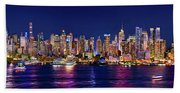 New York City Nyc Midtown Manhattan At Night Bath Towel