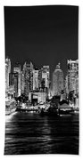 New York City Nyc Skyline Midtown Manhattan At Night Black And White Bath Towel