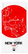 New York Red Subway Map Bath Towel