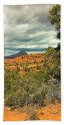 Oak Creek Baldwin Trail Blue Sky Clouds Red Rocks Scrub Vegetation Tree 0249 Bath Towel