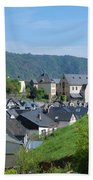 old town walls and church and buildings of Cochem Bath Towel