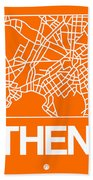 Orange Map Of Athens Hand Towel