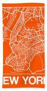 Orange Map Of New York Bath Towel