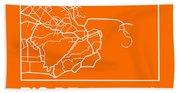 Orange Map Of Rio De Janeiro Bath Towel