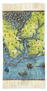 Outer Banks Historic Antique Map Hand Painted Bath Towel