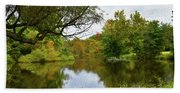 Painted Fall On The Back Pond Bath Towel