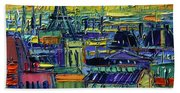 Paris Rooftops View From Centre Pompidou - Textural Impressionist Stylized Cityscape Mona Edulesco Hand Towel
