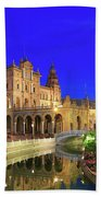 Plaza De Espana At Night Seville Andalusia Spain Bath Towel