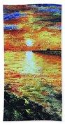 Pondicherry Beach Sunrise Bath Towel