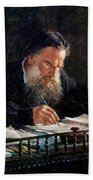 Portrait Of Leo Tolstoy Bath Towel
