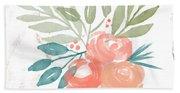 Pretty Coral Roses 2- Art By Linda Woods Bath Towel