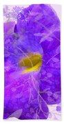 Purple Morning Glory With Pattern Bath Towel