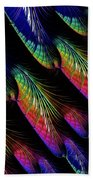 Rainbow Colored Peacock Tail Feathers Fractal Abstract Bath Towel by Rose Santuci-Sofranko