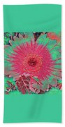 Red And Green Bloom Bath Towel