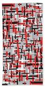 Red Black White Geometric Bath Towel