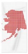 Red Dot Map Of Alaska Bath Towel