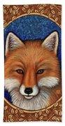 Red Fox Portrait - Brown Border Bath Towel by Amy E Fraser