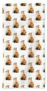 Red Fox Watercolor Pattern Bath Towel