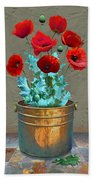 Red Patio Poppies Bath Towel