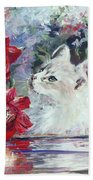 Red Roses And White Cat Hand Towel by Ryn Shell