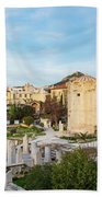 Remains Of The Roman Agora And Tower Of The Winds In Athens Hand Towel